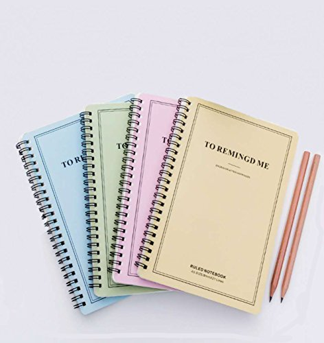 Spiral Notebook 1-Subject College Ruled, Pastel Color COLOR WILL VARY, 4 Pack (5.60 x 8.27) by Soulmate