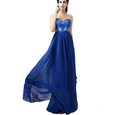 Clearbridal Womens A line Chiffon Lace Sweetheart Long Prom Dress AJ036 Royal Blue UK8