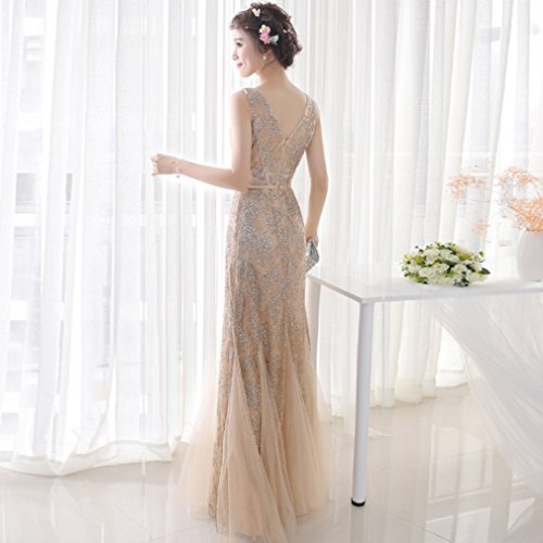 cotyledon Dresses V s Gown Mermaid Women Long Sleeveless Dress Neck wqwPF7xa