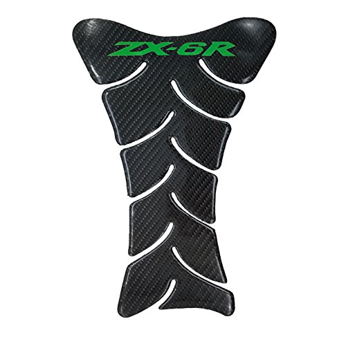 - 9.8 inches Real Carbon Fibers Green 3D Sticker Vinyl Decal Emblem Protection Gas Tank Pad For KAWASAKI ZX6R All