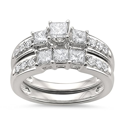 14k White Gold Princess-Cut & Round Diamond Engagement Bridal Set Wedding Ring (1 1/2 cttw, H-I, I1-I2), Size 7.5