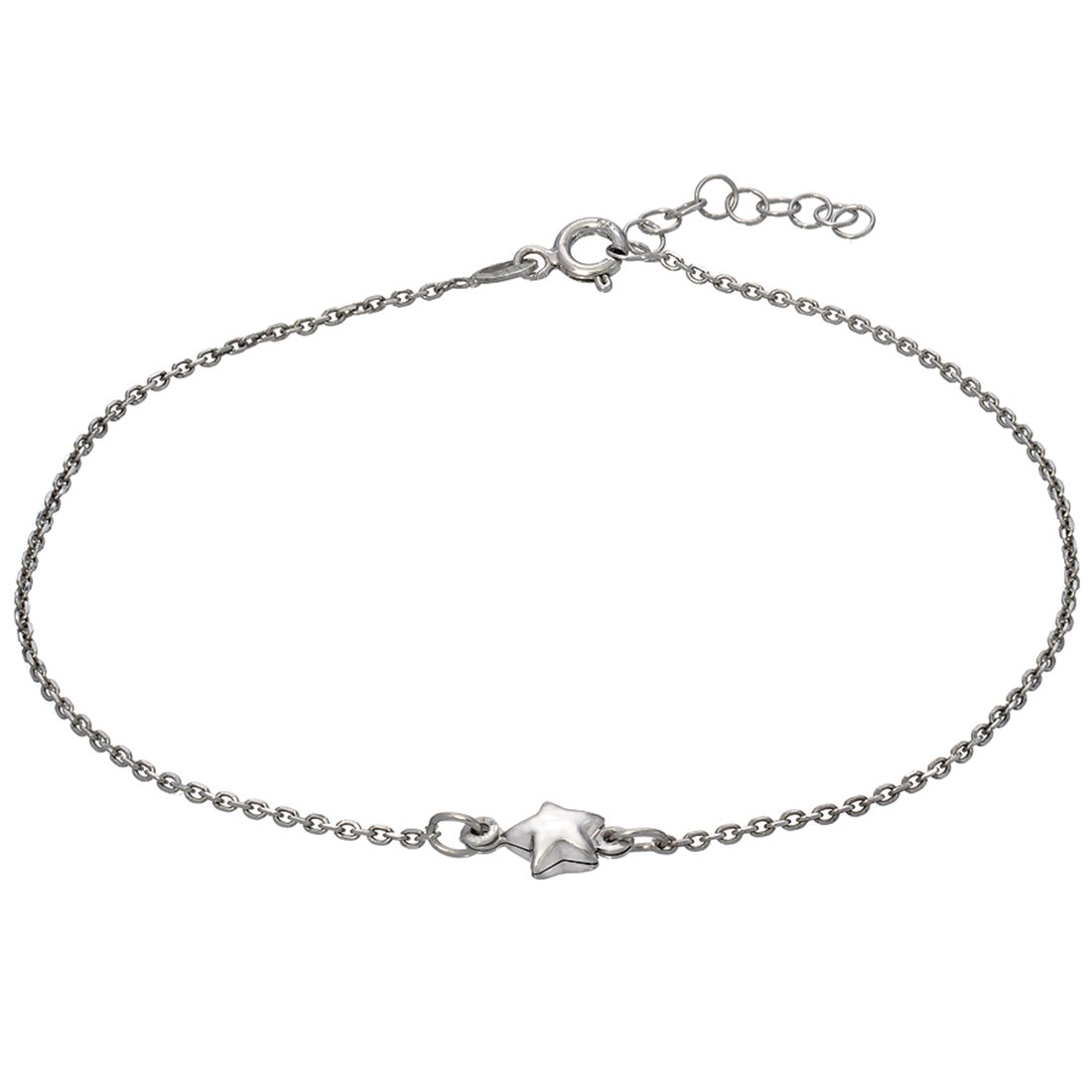 9 with 1 Extension D Jewelry 925 Sterling Silver Puff Star Anklet Bracelet Made in Italy