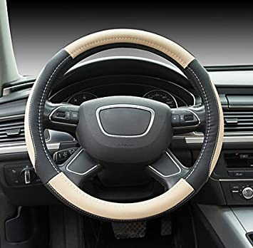 Cream Colored Hivel Universal Sport Car Steering Wheel Cover in Microfiber Leather Auto Anti Slip Steering Wheel Cover 38cm