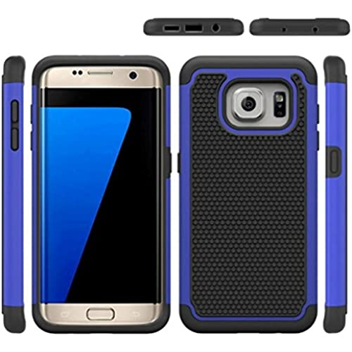 Galaxy S7 Edge Case, Yoyorule Hard Soft Rubber Impact Armor Case Back Cover (Blue) Sales