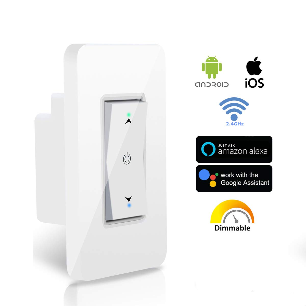 Wsiiroon WiFi Dimmer Switch, Smart Wall Light Switch Adjustable Brightness Wireless Remote Control Lighting with Timing Function Compatible with Amazon Alexa, Google Home - Neutral Wire Required