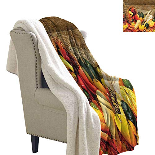 Harvest Lightweight Fluffy Flannel and Sherpa Blanket Food Scattered on Table Coverlet 60x78 Inch