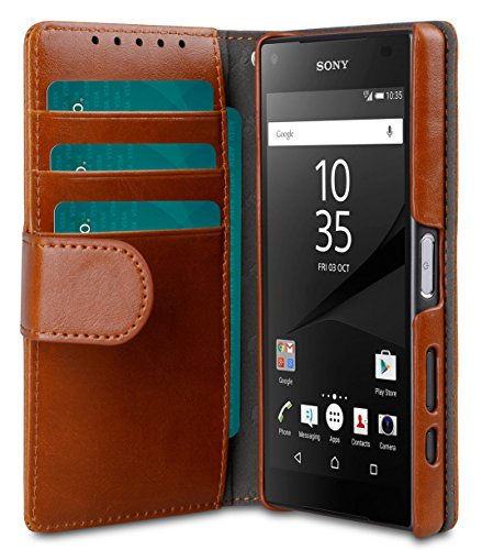 Price comparison product image Melkco Wallet Book Type Mini PU Case with 4 card slot for Sony Xperia Z5 Compact (Brown PU)