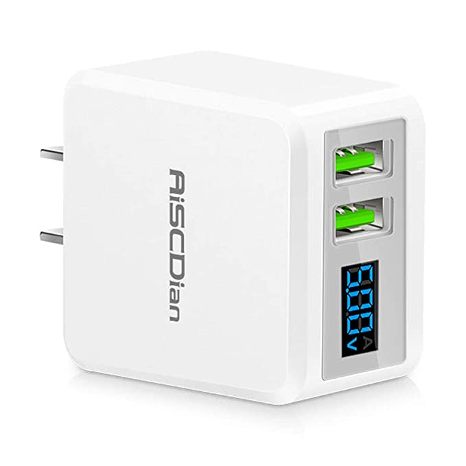 USB Wall Charger, Dual 5V/2.1A USB Ports, Compact Power Adapter with LCD Display, Travel USB Wall Plug for Smartphones, Tablets & Other Mobile Devices ...