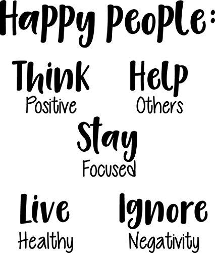 (Vinyl Wall Art Decal - Happy People Think Help Stay Live Ignore - 27