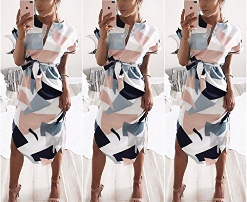 Poptem Womens Summer Casual V-Neck Geometric Pattern Belted Midi Pencil Dresses White Large