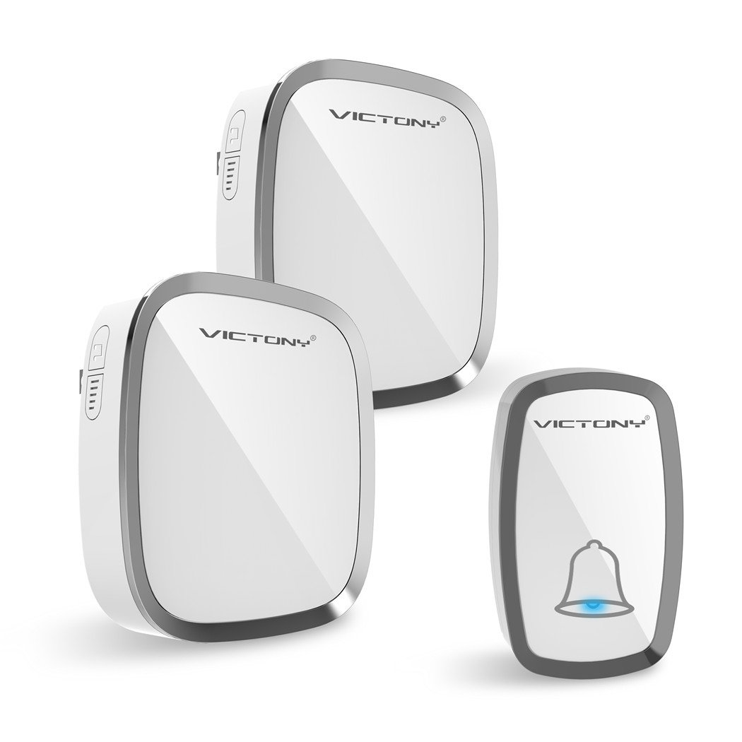 VICTONY Wireless Doorbell Alert System, 2 Electronic Receiver Chimes +Waterproof Transmitter Button-1000ft/300m Operating Range,36 Chimes, 4 Level Volume, LED Indicator,Easy Set Up for Home and Office