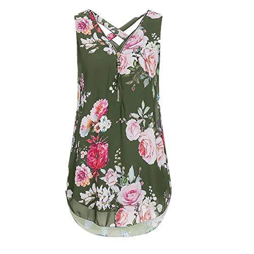 (iYBUIA Women Loose Sleeveless Solid Tank Top Cross Back Hem Layed Zipper V-Neck T Shirts)