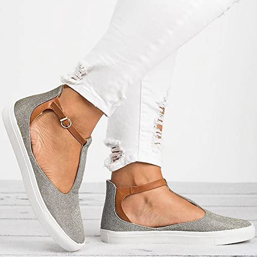 HULKAY Women Retro Pointed Toe Flat Sandals Slip-On Single Shoes Solid Color Ankle Boots Shallow Mouth Platform Shoes