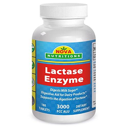 La lactasa Enzima 3000 FCC ALU 180 tabletas Nova nutriciones
