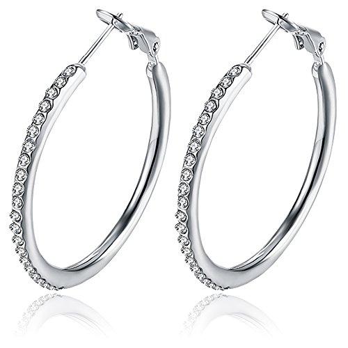 BEMI Romantic Gold/Silver/Rose Gold Plated Polishing Micro Inlay Rhinestone Ball Hoop Earrings for Woman Platinum Hoop ()