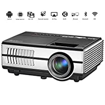 Mini Projector Wireless Bluetooth HDMI- 1500 Lumens LED LCD WiFi 1080P Multimedia Home Theater Cinema Movie Video Games Outdoor Party including USB, VGA, 3.5mm Audio jack, Built-in Speaker, Keystone