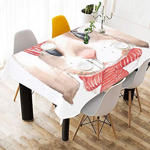 Enhusk Mesa de Centro Ropa de Cama Bufanda de Conejo Vestido de Conejo Ropa de Mesa de algodon Estampado de Tabla Mantel para Cocina Comedor Decoracion 60x84 Pulgadas Mesa de Belleza