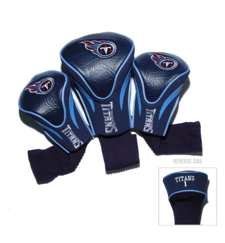 Team Golf NFL Tennessee Titans Contour Golf Club Headcovers (3 Count), Numbered 1, 3, & X, Fits Oversized Drivers, Utility, Rescue & Fairway Clubs, Velour lined for Extra Club Protection