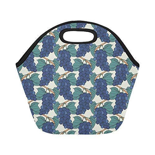 Insulated Neoprene Lunch Bag Vineyard Ripe Grapes Natural Country Landscape Wine Green Brown Blue Large Size Reusable Thermal Thick Lunch Tote Bags For Lunch Boxes For Outdoors,work, Office, School