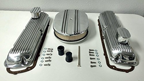 Chrome Engine Kit - SB Ford Finned Aluminum Valve Cover w/Air Cleaner Kit SBF V8 260 289 302 351W