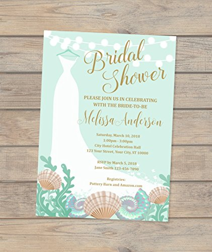 amazon com beach theme bridal shower invitation wedding dress and