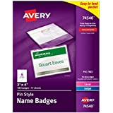 Avery Pin Style Name Badges, 3 x 4-Inches, for Laser and Inkjet Printers, White, Pack of 100 (74540)
