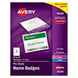 """Avery Top-Loading Pin Style Name Badges, 3"""" x 4"""", Box of 100 (74540)"""