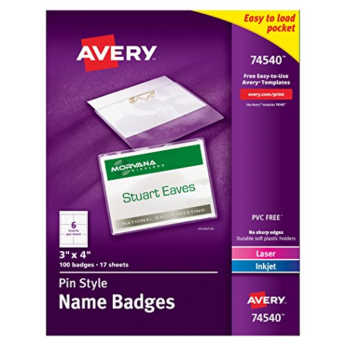 Tag Holder Name Inserts Badge (Avery Pin Style Name Badges, Print or Write, 3