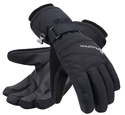 Andorra Women Thinsulate Insulated Waterproof Zipper Pocket Ski Glove, Black, M ()