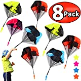Parachute Toys - 8 Pcs Parachute Army Men + 8 Pcs Parachute Tangle Free Throwing Parachute with Launcher Flying Toys Soldier Skydiver Hand Throw Sports & Outdoor Play Toys for Kids Gifts Party Favor