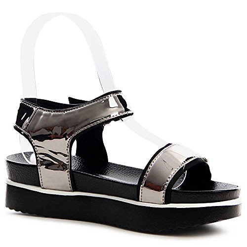 Sandalias para topschuhe24 plateado vestir gris de mujer aqwBZRdw