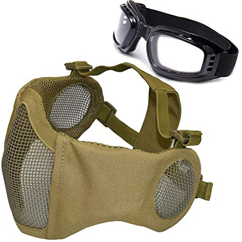 JFFCESTORE Airsoft mask Facepiece Foldable Half Face Airsoft Mesh Mask with Ear Protection with Goggles Set for Hunting, Paintball, Shooting(DE)