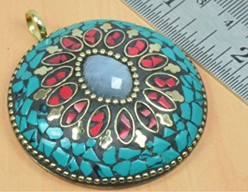Antique Brass Mosaic Turquoise & Coral Faceted Moonstone Inlay Folk Artisan Pendant Ethic Boho 3