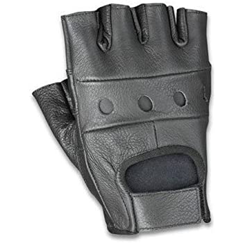 The Bikers Zone Cowhide Leather Fingerless Glove (Black, L)