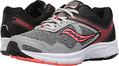 Saucony Women's Cohesion 10 Running Shoe, Grey Coral, 8.5 Medium US