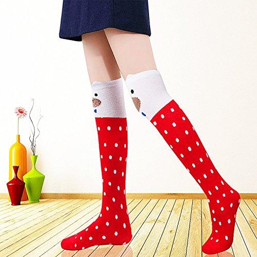 6 Pack Girls Socks, Cotton Over Calf Knee High Socks (Cartoon Animal Panda Cat Bear Fox) by Fansco (Image #1)