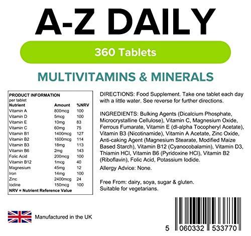 Lindens Multivitaminas A-Z en comprimidos diarios | 360 Paquete | Equilibrio perfecto de vitaminas y minerales con vitaminas A, C, D, E, B1, B2, B3, B6, ...