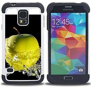 """Hypernova Híbrido Heavy Duty armadura cubierta silicona prueba golpes Funda caso resistente Para SAMSUNG Galaxy S5 V / i9600 / SM-G900 [Frutas Macro mojada de Apple""""]"""