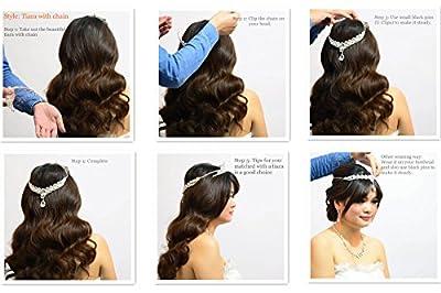 Remedios Plated Alloy Bowknot Rhinestone Wedding Tiara Bridal Headpieces Headband with Pendant,Silver