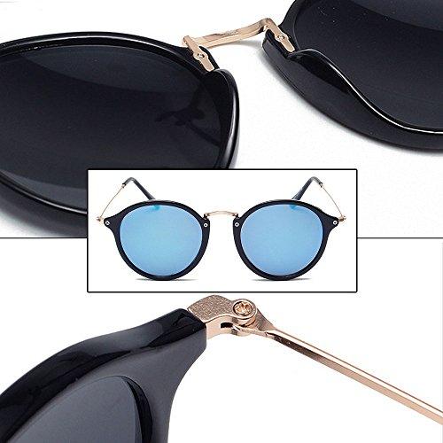 soleil BOZEVON Lunettes en bleu rond Lunettes Noir de Hommes Femmes rétro métal wwrESUd4q