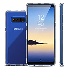 Galaxy Note 8 Case,Clear Slim Hybrid Cute Armor Hard Back Defender Flexible Tpu Bumper Non Slip Non Bulky Full Body Shockproof Protective Case Cover for Samsung Galaxy Note 8 - Crystal
