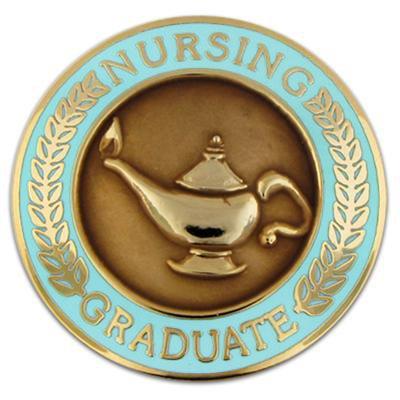 - PinMart Nursing Graduate Lamp of Knowledge Circle Teal Enamel Lapel Pin