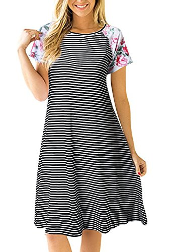 - Uideazone Fashion Floral Striepd A-Line T Shirt Dress Summer Loose Tunic Dress Black