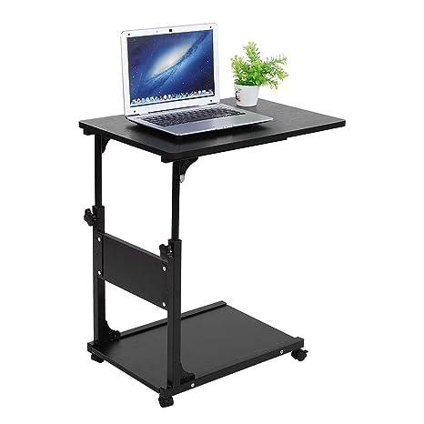 Cocoarm Mesa Auxiliar con Ruedas para Cama o Silla Mesas de Centro Mesas para Ordenador, Altura Ajustable: 55-80 cm (Negro)