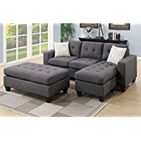 3Pcs Modern Blue Grey Linen-Like Fabric Reversible Sectional Sofa Chaise Ottoman Set with Accent Tufting and Pillows