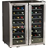 Wine Enthusiast 48 Bottle Silent 2-Zone Wine Refrigerator, Stainless Steel