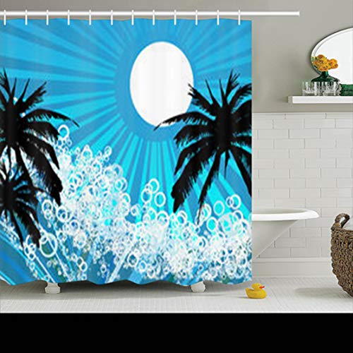 NOWCustom Shower Curtains 78 x 72 Inches Holiday Seaside Abstract Shape Waterproof Mildew Resistant Polyester Fabric Bathroom Set with Hooks for $<!--$27.99-->