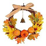 Halloween Door Wreath with Bell, Elevin(TM) 30cm Rattan Berry Maple Leaf Fall Door Wreath Door Wall Ornament Halloween