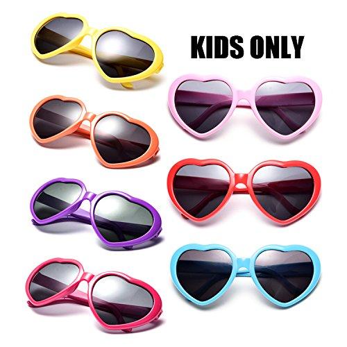 Neon Colors Party Favor Supplies Wholesale Heart Sunglasses for Kids (7 Pack Mix) -