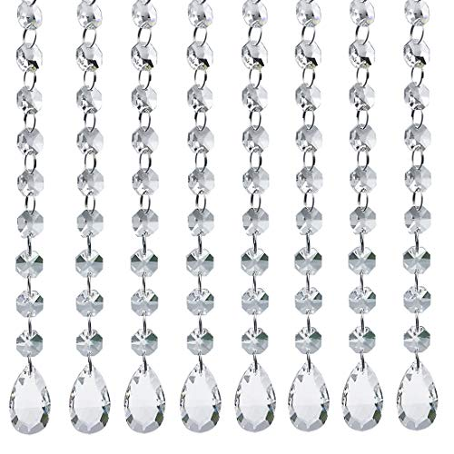 10pcs Crystal Beads for Chandelier Clear Glass Beads Lamp Chain for Wedding Party DIY Christmas Crystal Garland -